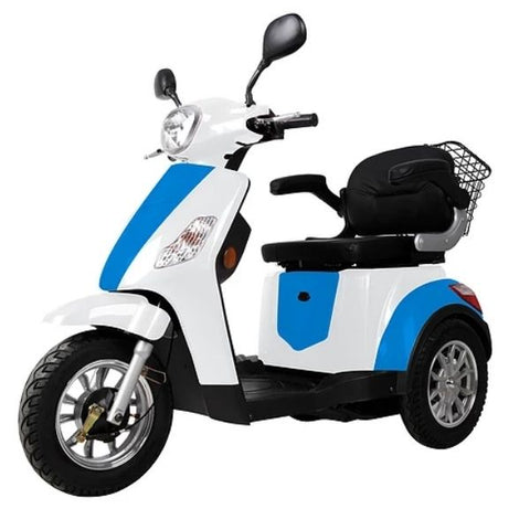 Green Transporter EV3 3 Wheel Mobility Scooter Blue White Left View