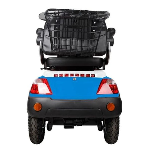 Green Transporter EV3 3 Wheel Mobility Scooter Rear Storage Basket View