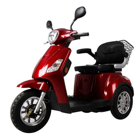 Green Transporter EV3 3 Wheel Mobility Scooter Red Front View