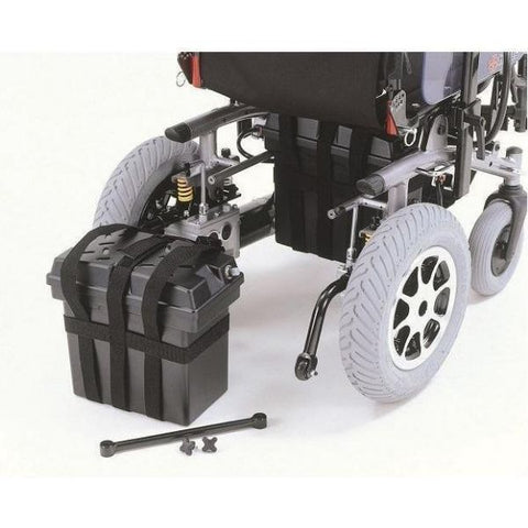 Merits Health P183 Travel-Ease Folding Electric Wheelchair 700 lbs Folding battery tray View