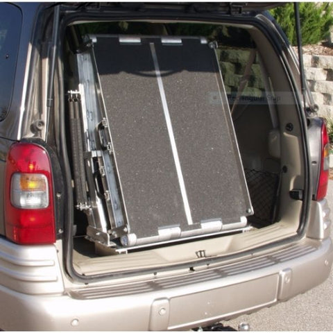 PVI Folding Rear Door Ramp Mounts to Floor of Van Inside Doorway View