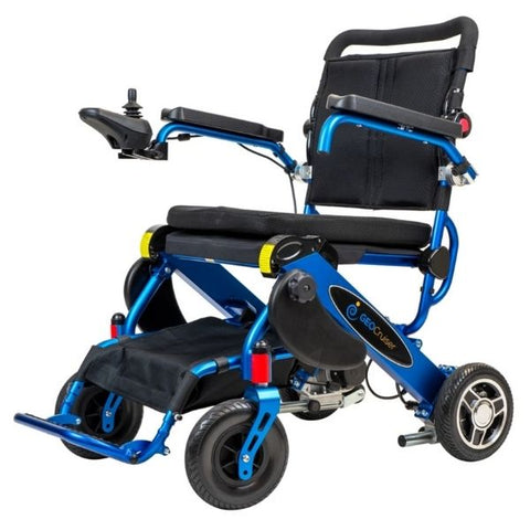 Pathway Mobility Geo Cruiser DX Folding Power Wheelchair Blue Left View
