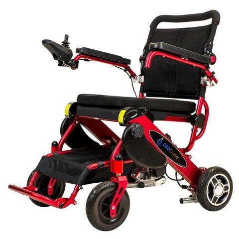 Pathway Mobility Geo Cruiser DX Folding Power Wheelchair Red Left View