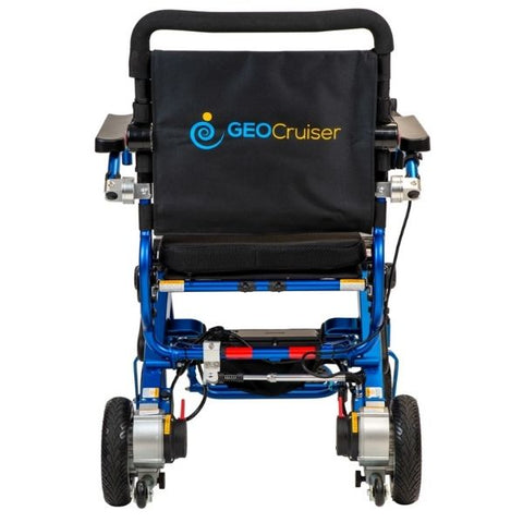 Pathway Mobility Geo Cruiser Elite EX Foldable Power Wheelchair Blue Back View