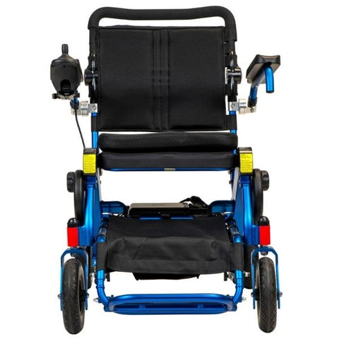 Pathway Mobility Geo Cruiser Elite EX Foldable Power Wheelchair Blue Front View