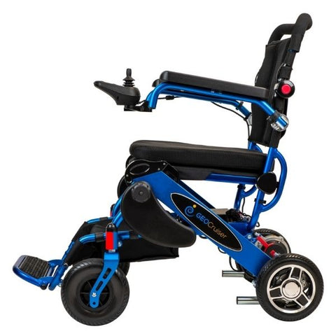 Pathway Mobility Geo Cruiser Elite EX Foldable Power Wheelchair Blue Side View
