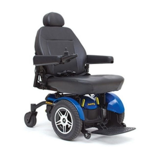 Pride Jazzy Elite HD Front Wheel Power Chair Blue Front View