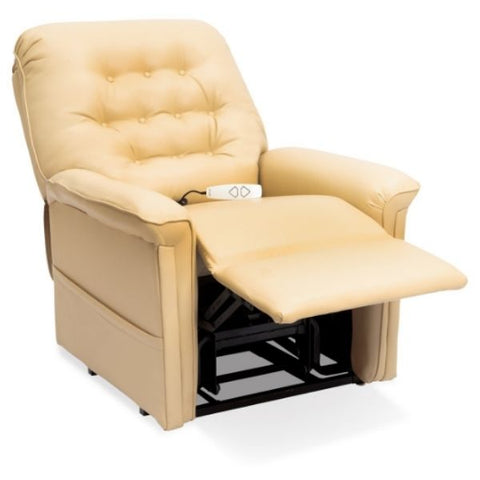 Pride Mobility Heritage Collection 3-Position Lift Chair LC-358 Buff Ultraleather Tilted View