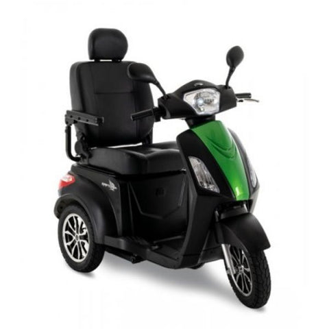 Pride Raptor 3-Wheel Scooter R3-1700 Black Green Front View
