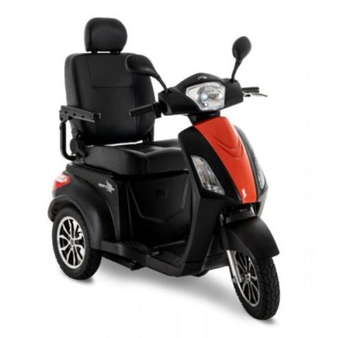 Pride Raptor 3-Wheel Scooter R3-1700 Black Orange Front View
