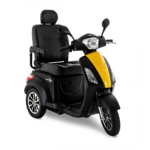 Pride Raptor 3-Wheel Scooter R3-1700 Black Yellow Front View