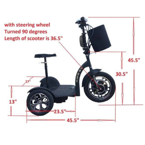 RMB EV Multi Point 500W 3 Wheel Scooter Side View