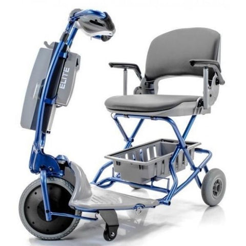 Tzora Easy Travel Elite 3 Wheel Scooter Blue Adjustable Tiller View