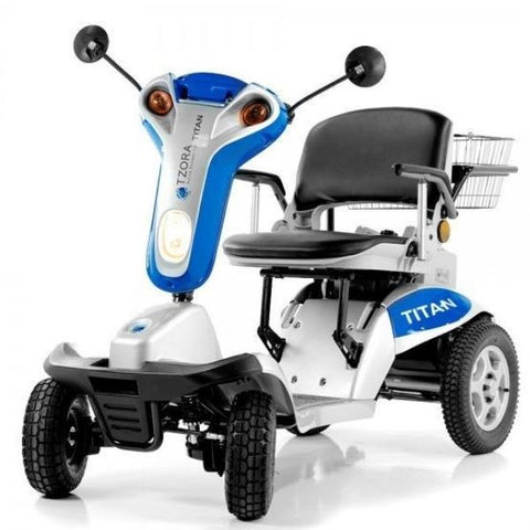 Tzora Titan Hummer XL 4 Wheel Mobility Scooter Blue Front View