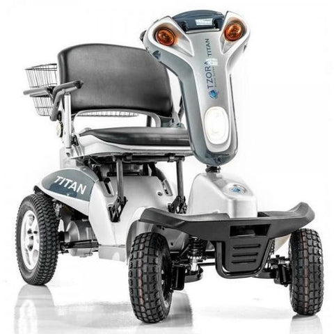 Tzora Titan Hummer XL 4 Wheel Mobility Scooter Silver Front View