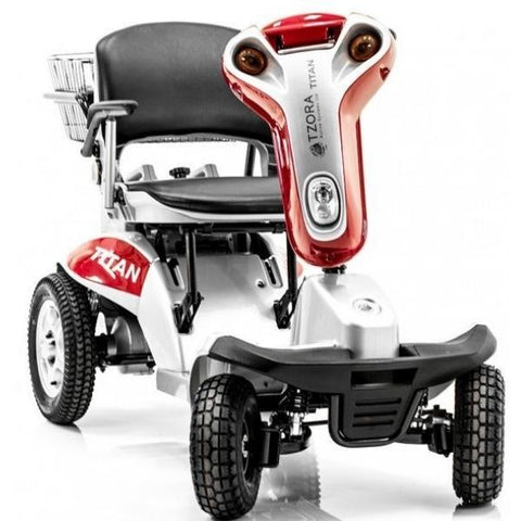 Tzora Titan Hummer XL Folding 4 Wheel Mobility Scooter Red Front View