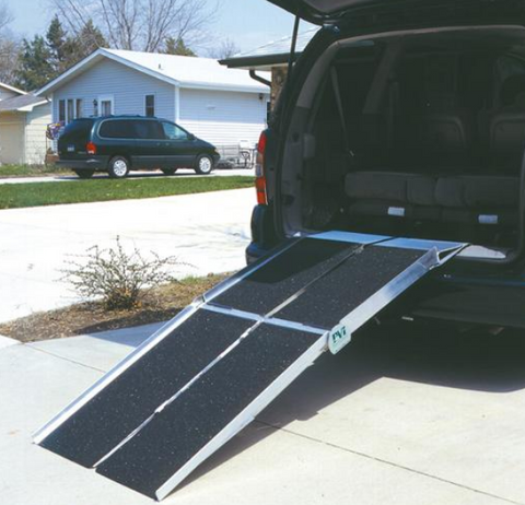 PVI Multifold Reach Ramp Extended Hook to Clear Rear Bumper View