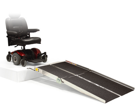 PVI Multifold Reach Ramp Accommodates Wheelchairs and Scooters with Various Wheel Configurations View