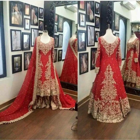 Beautiful Red Wedding Indian Bridal Dress in Australia Online at NameerabyFarooq
