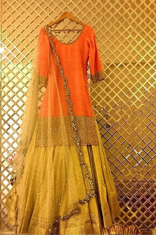 Buy Trendy Indian Mehendi Bridal Shirt with Lehenga 2019 in Austrailia Online at NameerabyFarooq