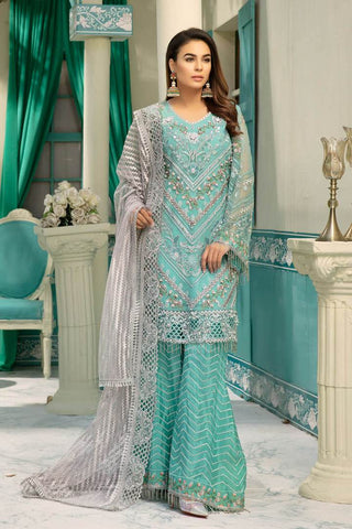Chiffon Embroidered Eid Dress for Girls in Blue & Grey