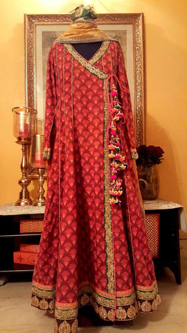 Indian Wedding Mehndi Angrakha Style Frock for Indian Bridal in Austrailia