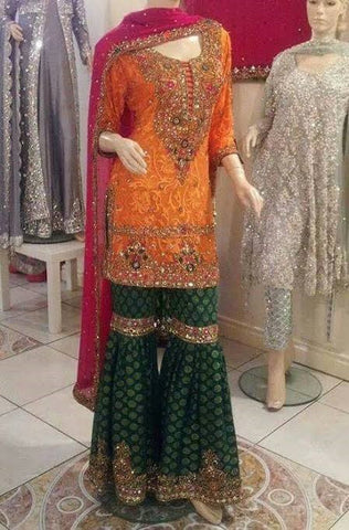 Latest Indian Bridal Mehendi Shirt with Garara Online at NameerabyFarooq