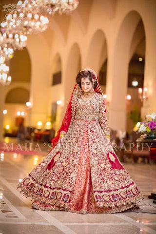 Pakistani Bridal Wedding Bridal Dress in Red Color Online at Nameera by Farooq