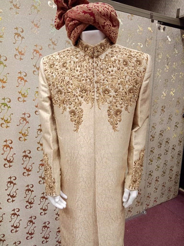 Pakistani Shewani and Turban Asian Groom Wedding Dresses Online at Nameera by Farooq