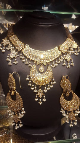 Pakistani Wedding Kundun Jewelry Necklace with Ear Rings Online at NameerabyFarooq