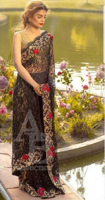 Chiffon Bridal Bangali Saree In Black And Golden Color.Work Embalished With Dhaga Tilla Embroidery Dabka And Sitara Work On Chiffon Fabric.
