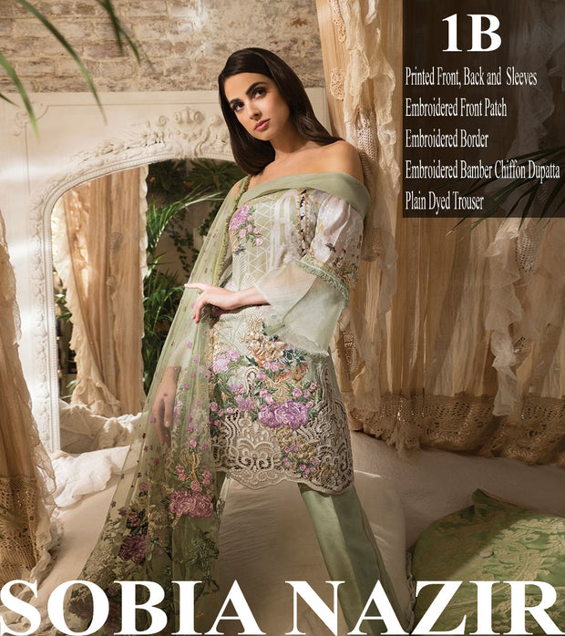 Beutifull lawn dress by sobia nazir in mint green  color Model # L 1208