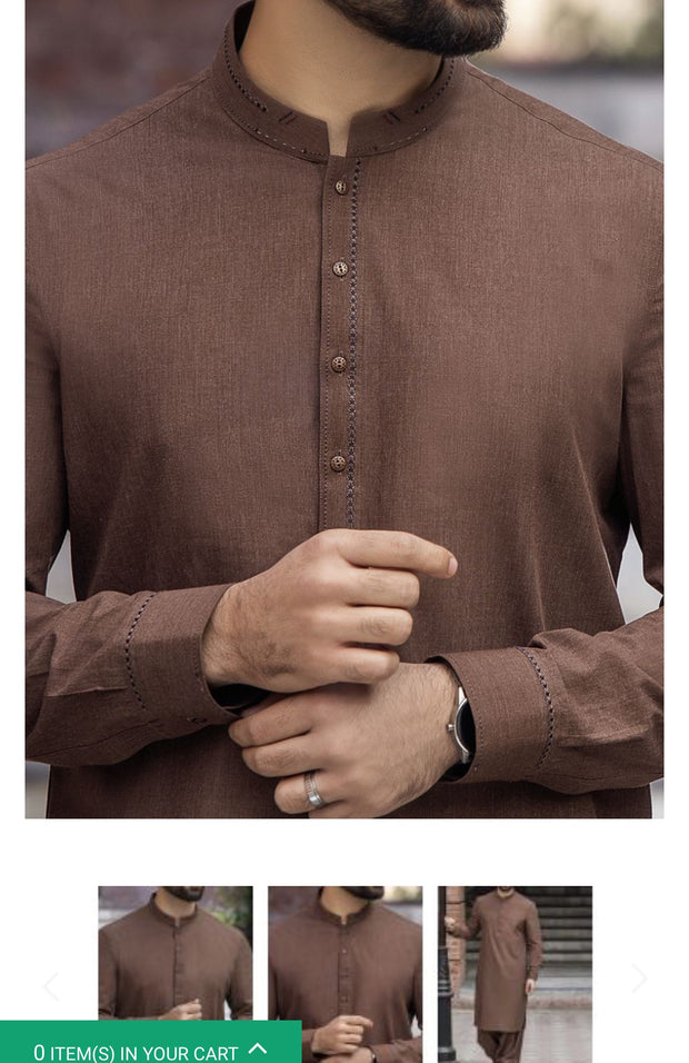 Men Eid Dress 2019 in Dark Brown Color.With Simple Gala Cuffs And Stylish Buttons.