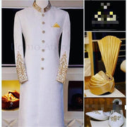 Men Sherwani Turban And Khusa In Offwhite Color Model# Men 1734