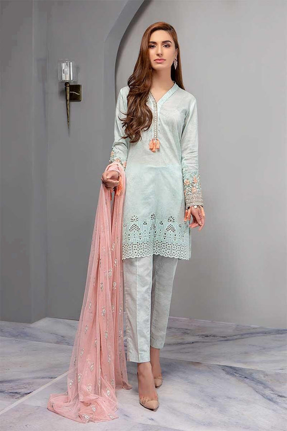 Designer Lawn Dress In Turquoise Color.Work With Dhaga Work And Cutwork Daman.