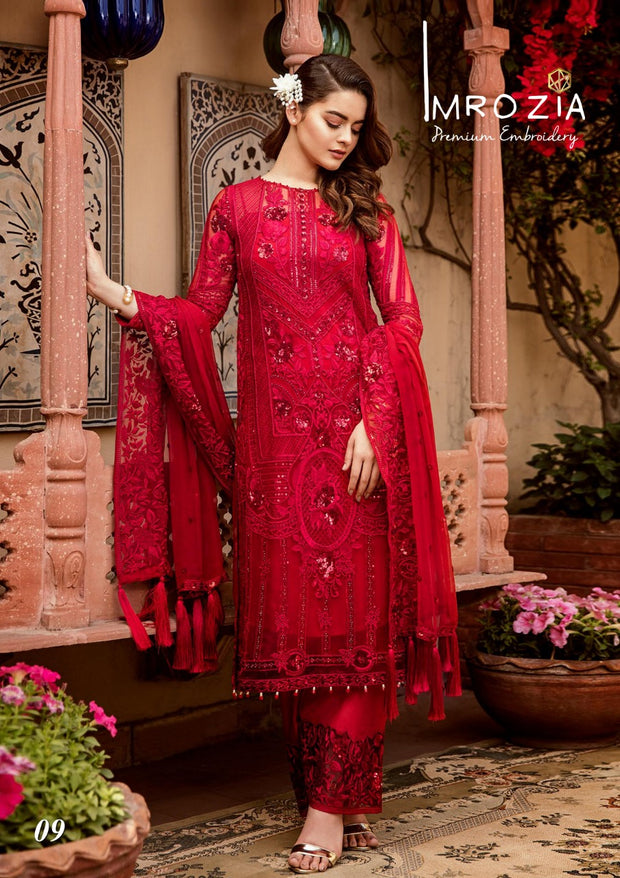 Hot Red Dress by Imrozia. Work Embalished With Sequance Dhaga And Tilla Embroidery.