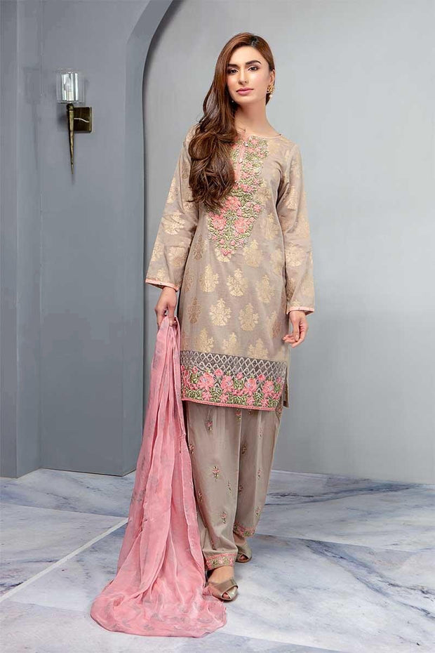 Stylish Pink Embroided Dress In Gold Color.Work Emballished With Dhaga Embroidery And Cutwork.