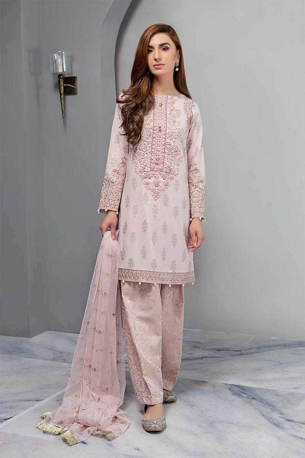 Desi Shlwar Kameez In Light Color.Work Emballished Witha Dhaga Embroidery And Cutwork Patches.