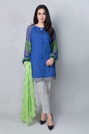 Beutifull lawn dress by Maria b in blue and green color Model # L 1218