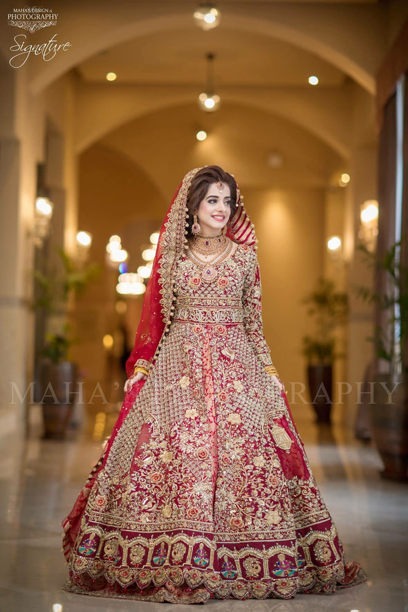 Beutifull bridal open maxi in red color with dull golden and antique golden work Model# W 1194