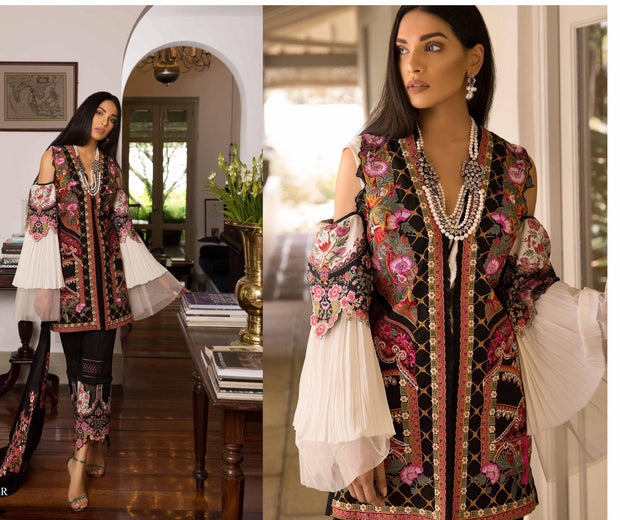 Pakistani Designer Cloth By Sana Safinaz With Threads Embroidery And Patches Work And Woolen Shawl.