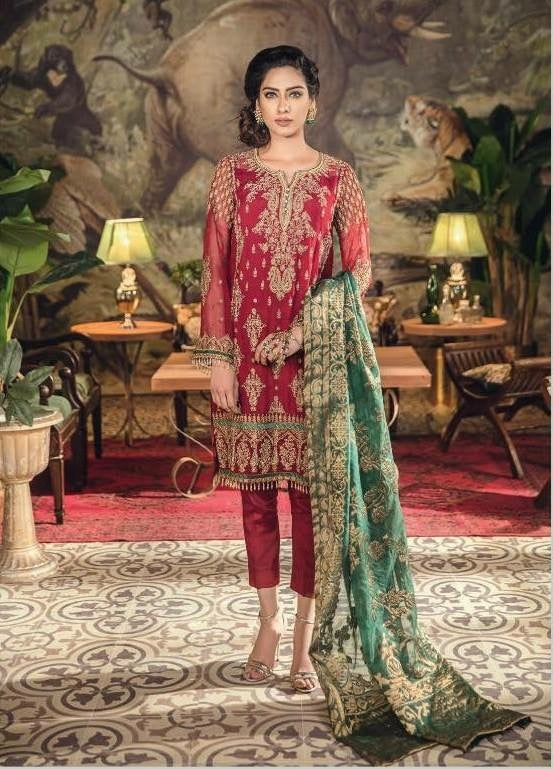Designer Chiffon Dress In hot Red By Iznik.With Golden Tilla Threads Embroidery Sequance And Handwork.