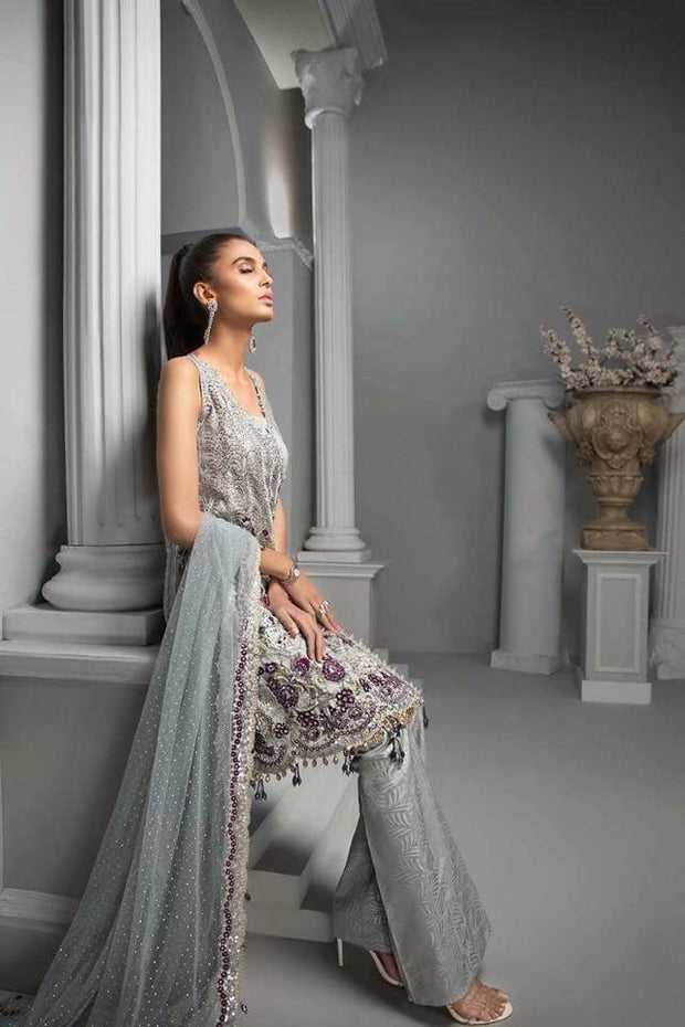 Fancy Party Wear in Light Gray Color.With Tilla Threads Embroidery And Pearls Sequance Work.