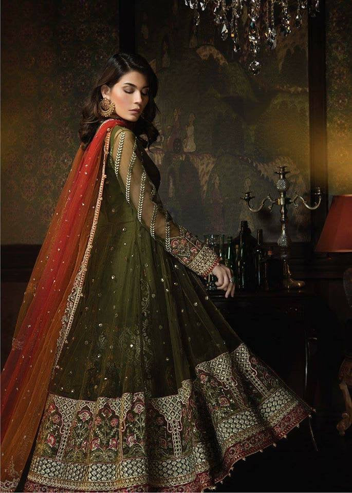 Beutifull dress in chiffon by ayra in mehndi green and color Model  C 1134  ,