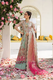 Nikah Bridal Dress In Aqua Green Color By Elan.Work Emballished With Tilla,Dhaga,Pearls,Sequance And Beeds Work.