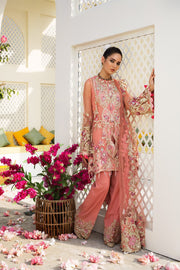 Designer Wedding Dress In Pink Color by Hsy.Work Emballished With Tilla,Threads Sequance,And Pearls Work.