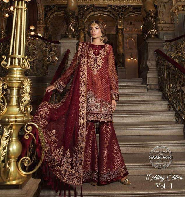 Dulhan Dress In Maroon Red Color With Short Shirt And Sharara With Threads,Sequance,Tilla Embroidery Handwork  And Cutwork .