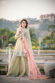 Beutifull wedding party dress In light pistachio green and baby pink color Model# P 1197