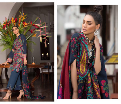 Pakistani Fashion Wear 2018 by Sana Safinaz in Dark Blue Color.Work Embellished With Pure Multi Threads Embroidery And Woolen Shawl.