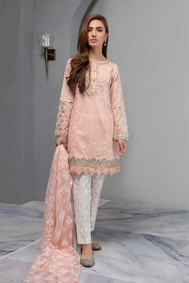 Pink Cutwork Dress By Maria B.Work Embellished With Threads Embroidery Tissue Dhaga Work Patches And Cutwork.